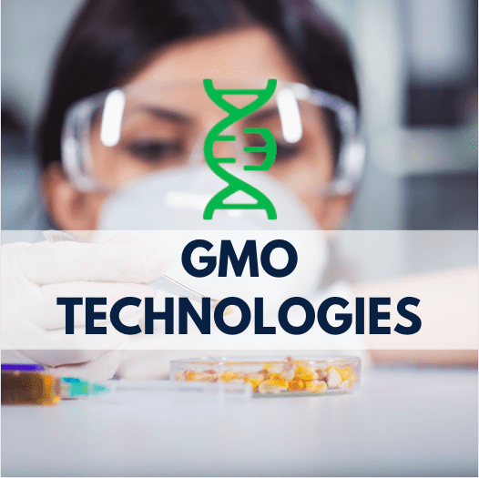 girl with goggles looking at corn kernels in the lab, DNA strand and navy blue text