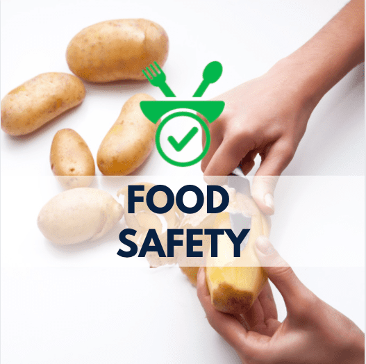 hands peeling potatoes, food plate icon, and navy blue text