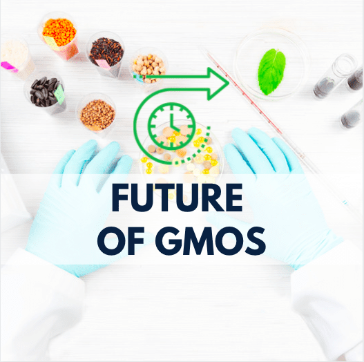 hands with gloves and GMO samples, time icon, and navy blue text
